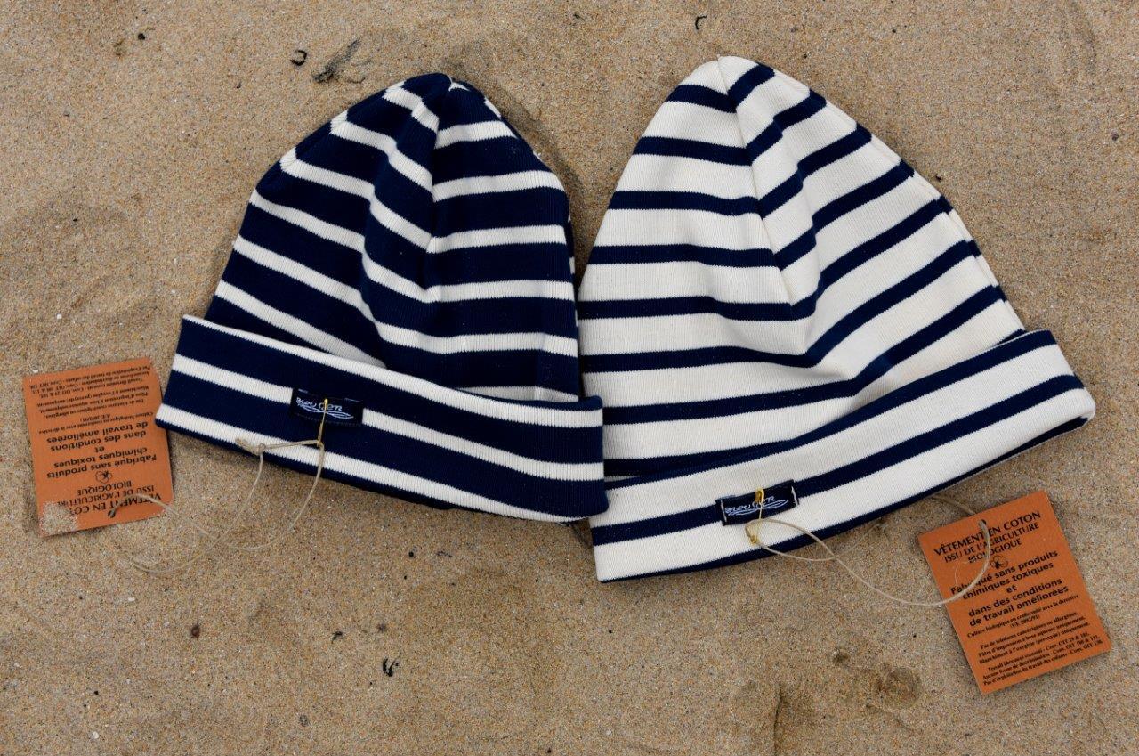 1e6a8b5ed52 Bonnet Enfant coton bio 340g m² Ecru Marine - Bleu Mer